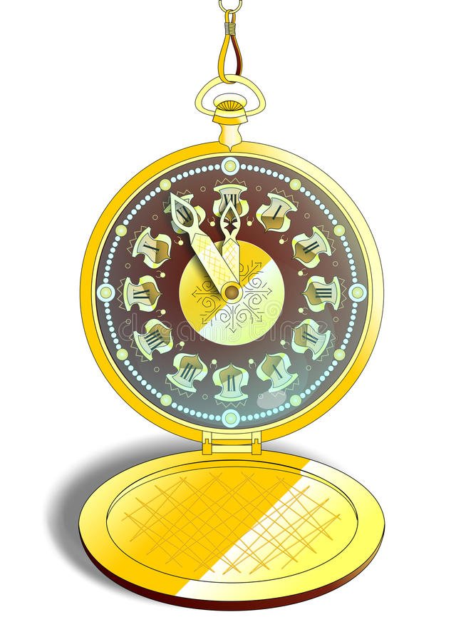 Вахта винтажного золота карманный в векторе бесплатная иллюстрация