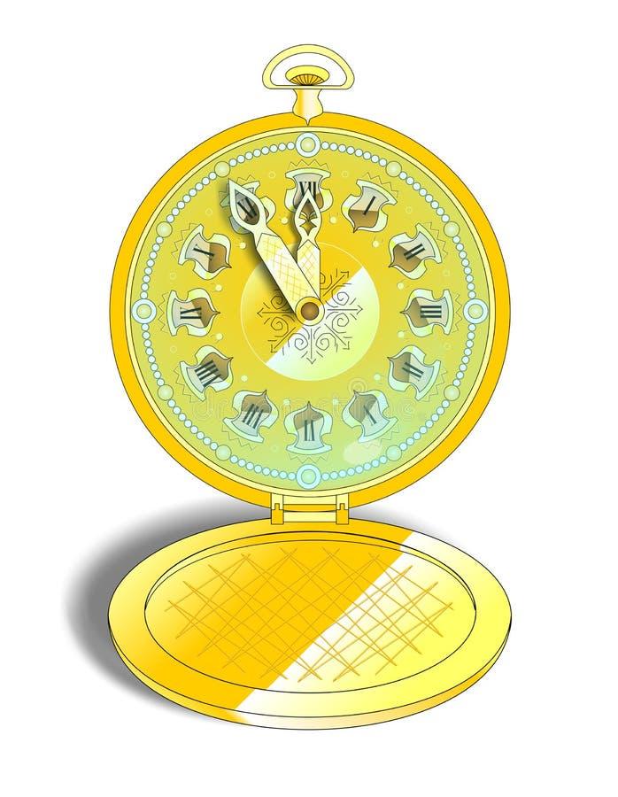 Вахта винтажного золота карманный иллюстрация штока