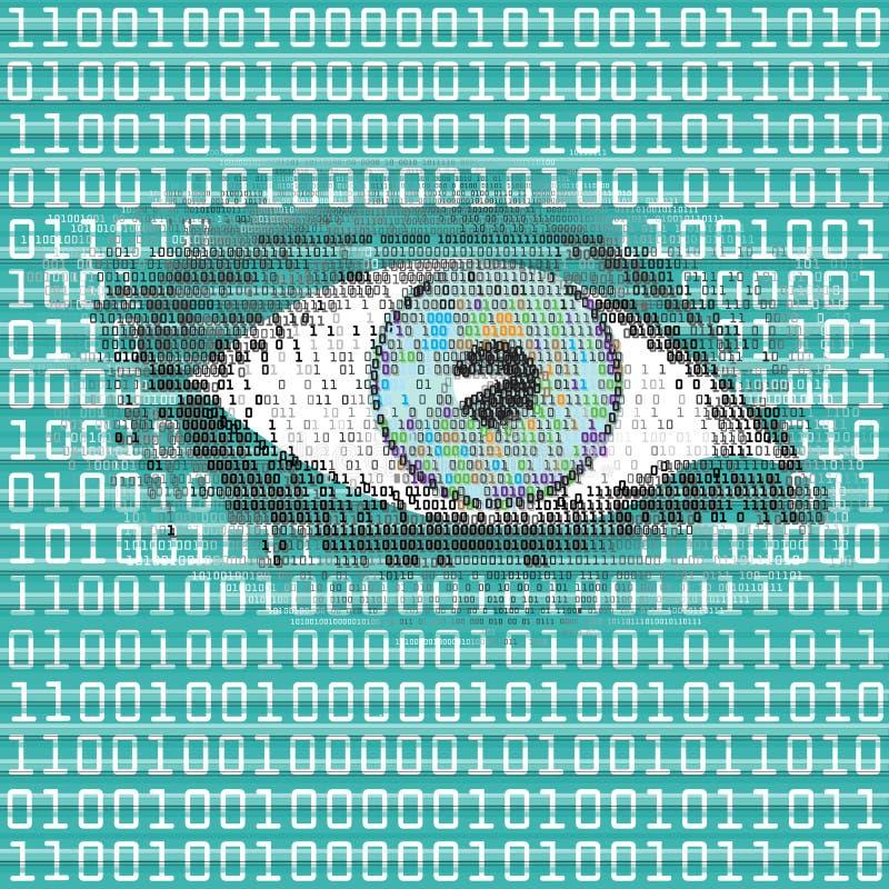Вахта глаза цифров иллюстрация вектора