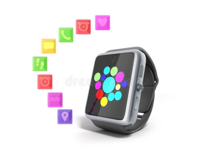 Вахта или часы цифров умные с значками 3d представляют на белизне не sh иллюстрация штока
