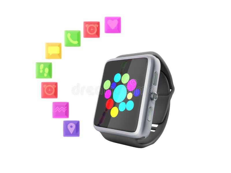 Вахта или часы цифров умные с значками 3d представляют на белизне не sh бесплатная иллюстрация