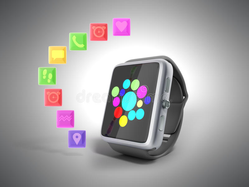 Вахта или часы цифров умные с значками 3d представляют на сером цвете бесплатная иллюстрация