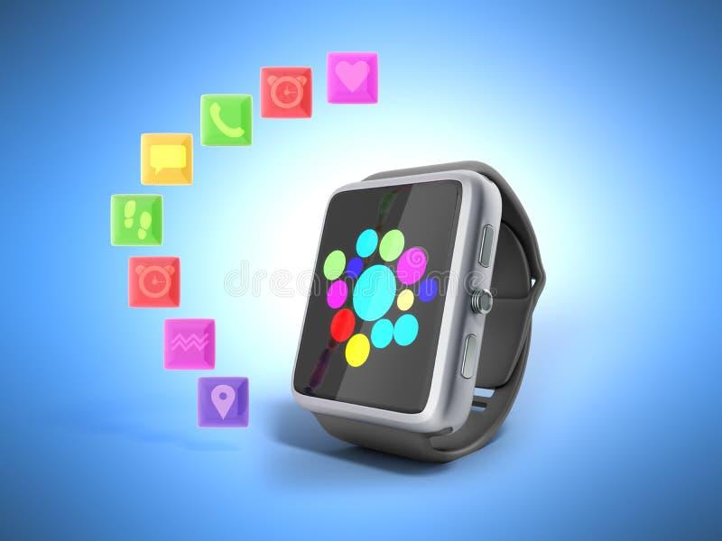 Вахта или часы цифров умные с значками 3d представляют на сини бесплатная иллюстрация