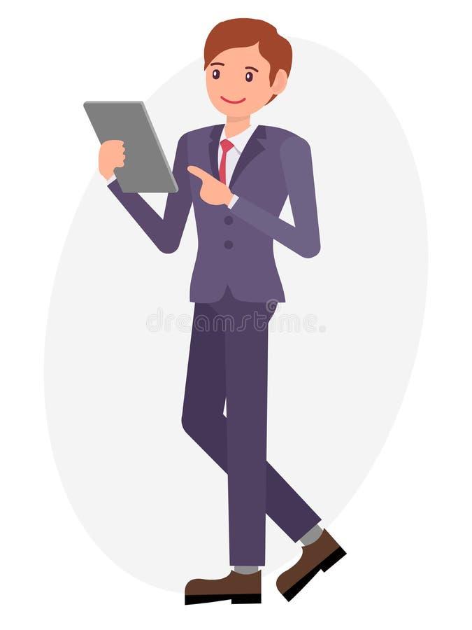 Вахта и пункт человека дизайна персонажа из мультфильма мужские на таблетке с иллюстрация штока