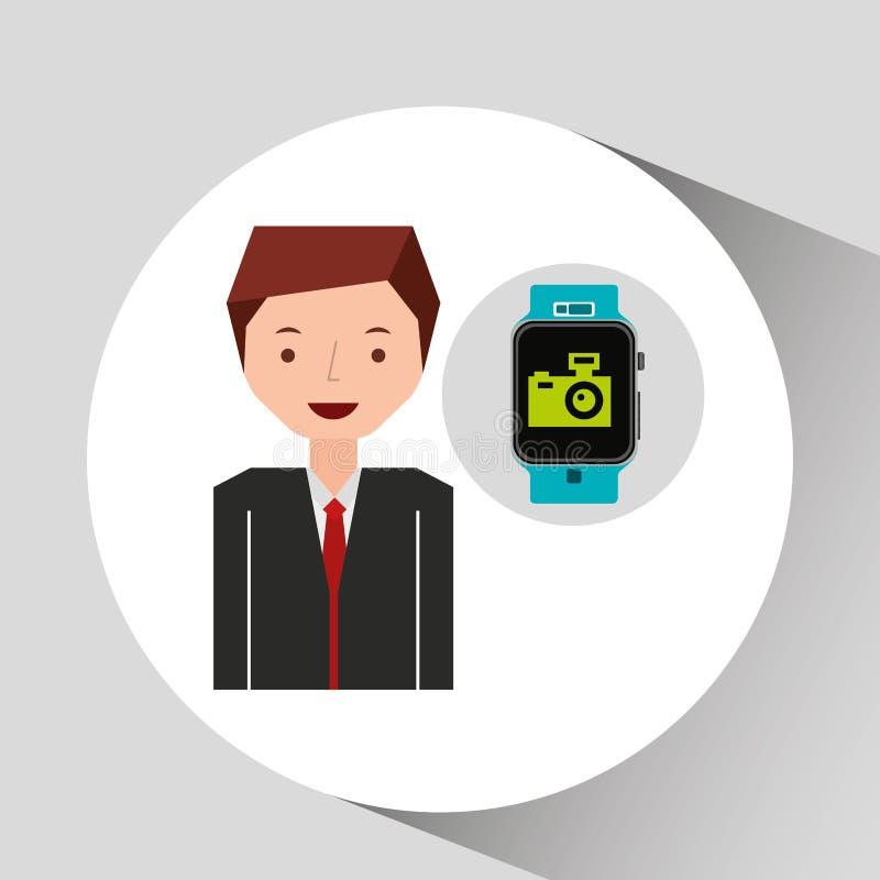 Вахта и фотокамерf человека шаржа умные бесплатная иллюстрация