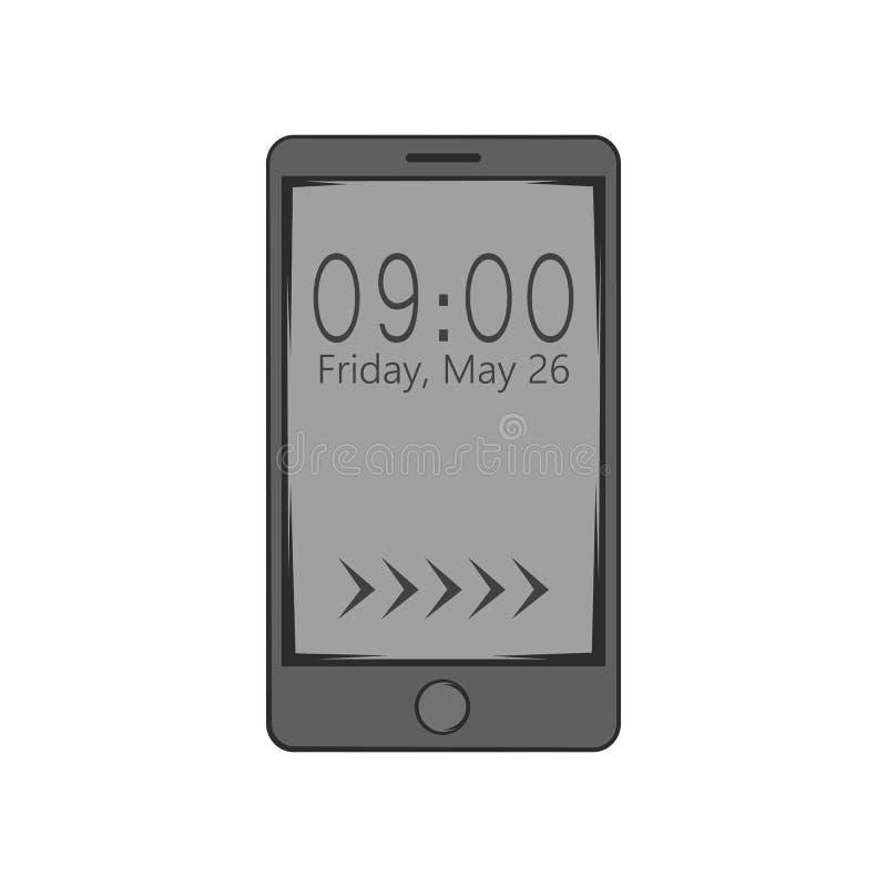 Вахта на значке мобильного телефона, черном monochrome стиле иллюстрация штока