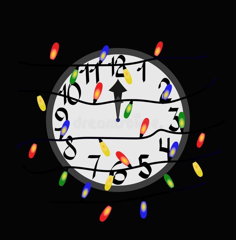 Вахта с гирляндой рождества иллюстрация вектора