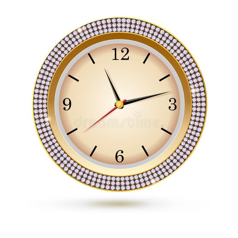 Вахта с диамантами на белой предпосылке Значок роскошных часов, украшение ювелирных изделий с белой шкалой и стрелки иллюстрация штока