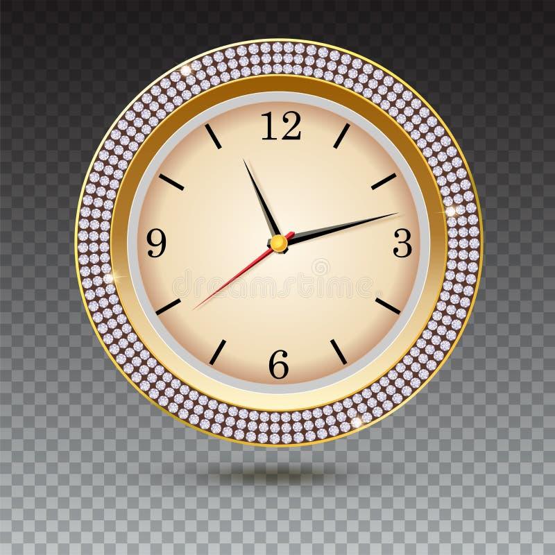 Вахта с диамантами на прозрачной предпосылке Значок роскошных золотых часов, украшения ювелирных изделий с белой шкалой и иллюстрация штока