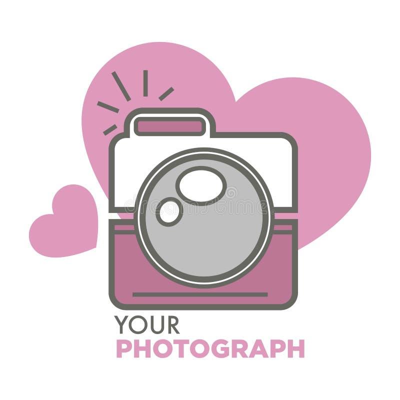 Ваша камера фото старой школы фотоснимка с сердцами бесплатная иллюстрация