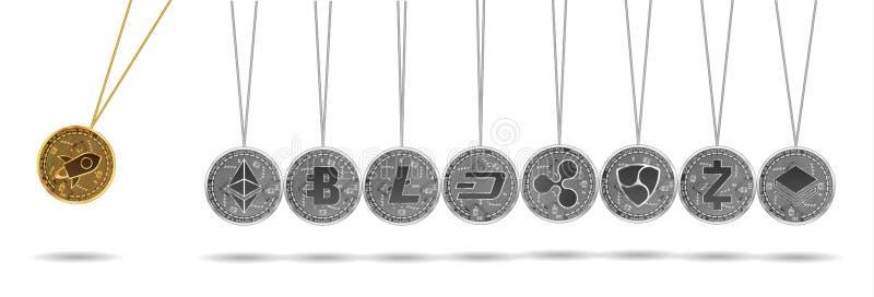 Вашгерд Ньютона золота и серебряных секретных валют иллюстрация вектора