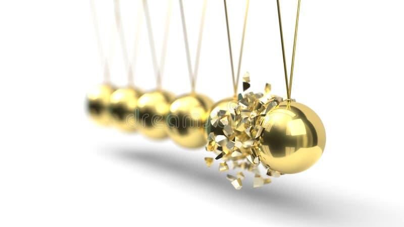 Вашгерд Ньютона с шариками золота ломать момент : иллюстрация штока