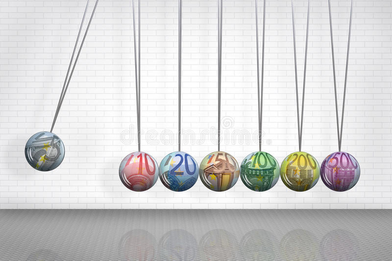 Вашгерд Ньютона с шариками символа евро иллюстрация штока