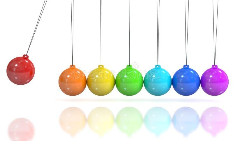 Вашгерд покрашенного Ньютона, маятник перевод 3d иллюстрация вектора
