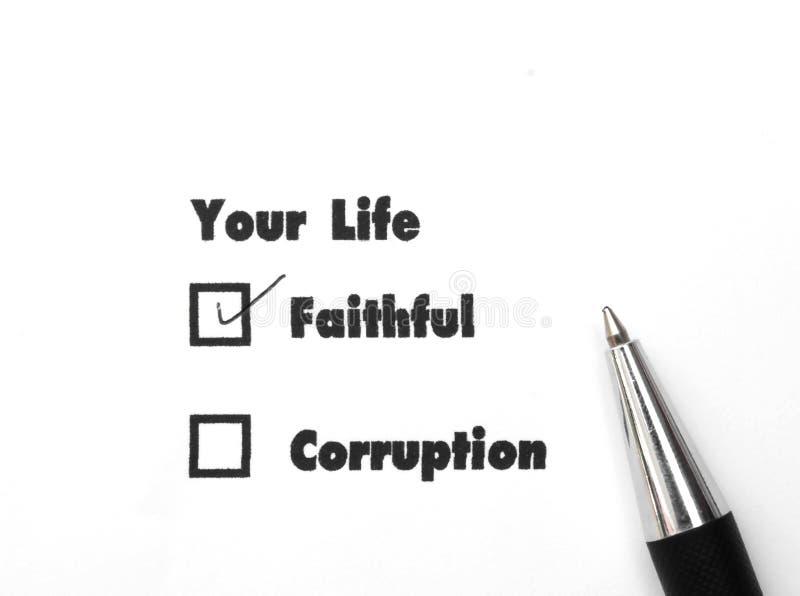 Ваше отборное верно или коррупции, печать чернил, концепция флажка стоковые фото