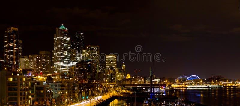 вашингтон горизонта seattle ночи стоковое фото