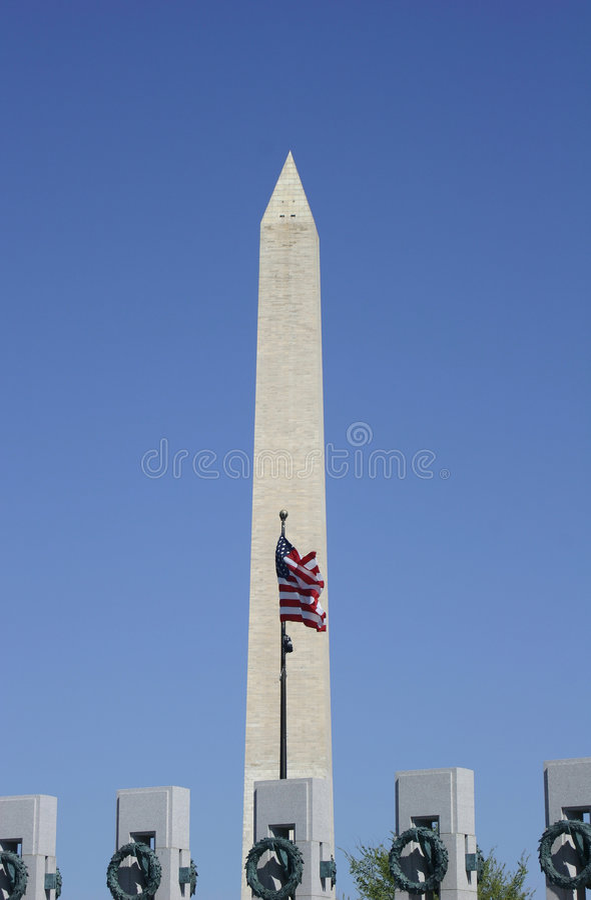 вашингтон памятника американского флага стоковые изображения