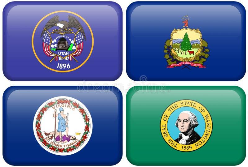 вашингтон Юты Вермонта virginia положения флагов иллюстрация штока