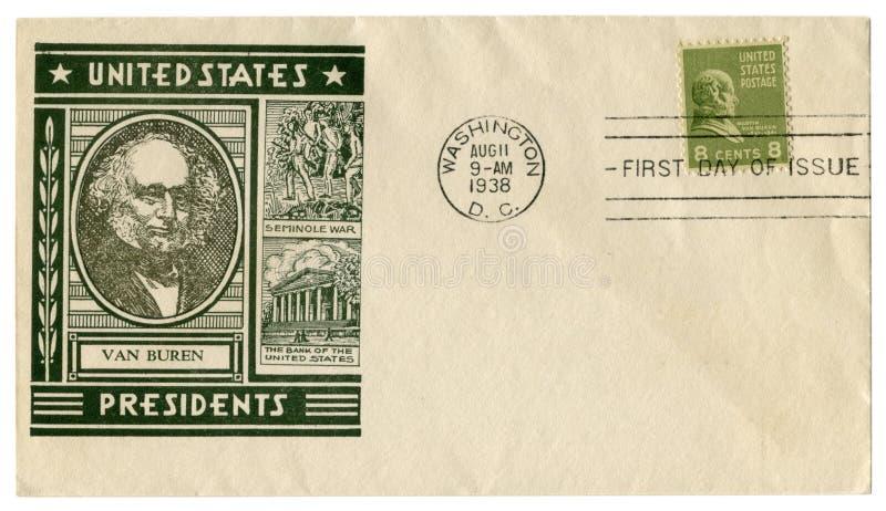 Вашингтон d C , США - 11-ое августа 1938: Конверт США исторический: крышка с портретом печати восьмого президента Мартин Ван Бюре стоковые фотографии rf