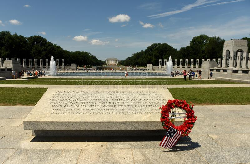 Вашингтон, DC - 1-ое июня 2018: Мемориал Второй Мировой Войны в мыть стоковое изображение rf