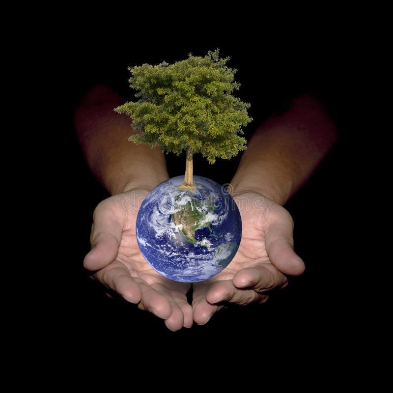 Ваши руки могут помочь миру для того чтобы быть зелены иллюстрация вектора