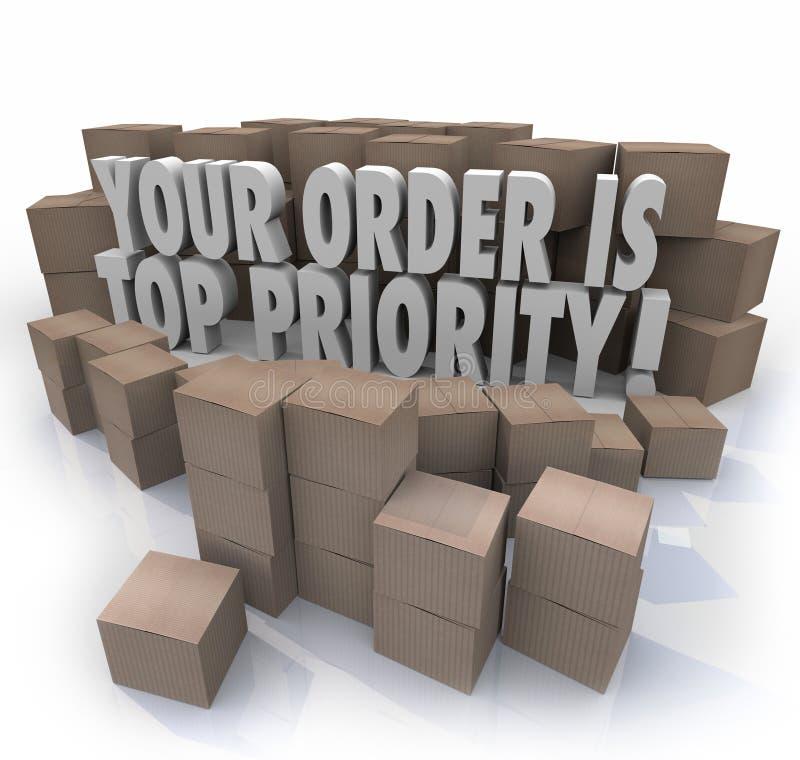 Ваш заказ склад важный De коробок пакетов главного приоритета иллюстрация вектора