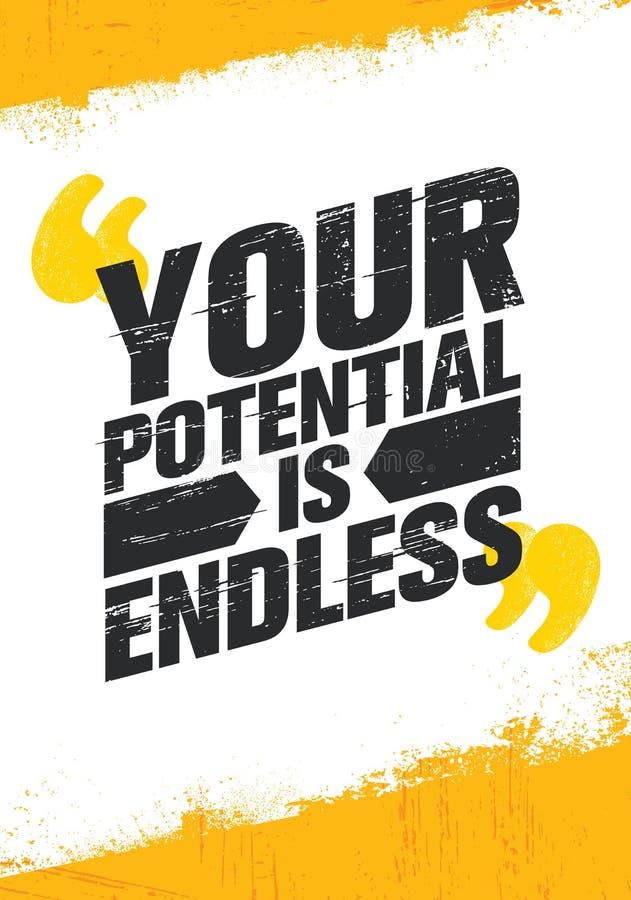 Ваш потенциал бесконечен Воодушевляя творческий шаблон плаката цитаты мотивировки Идея проекта знамени оформления вектора бесплатная иллюстрация
