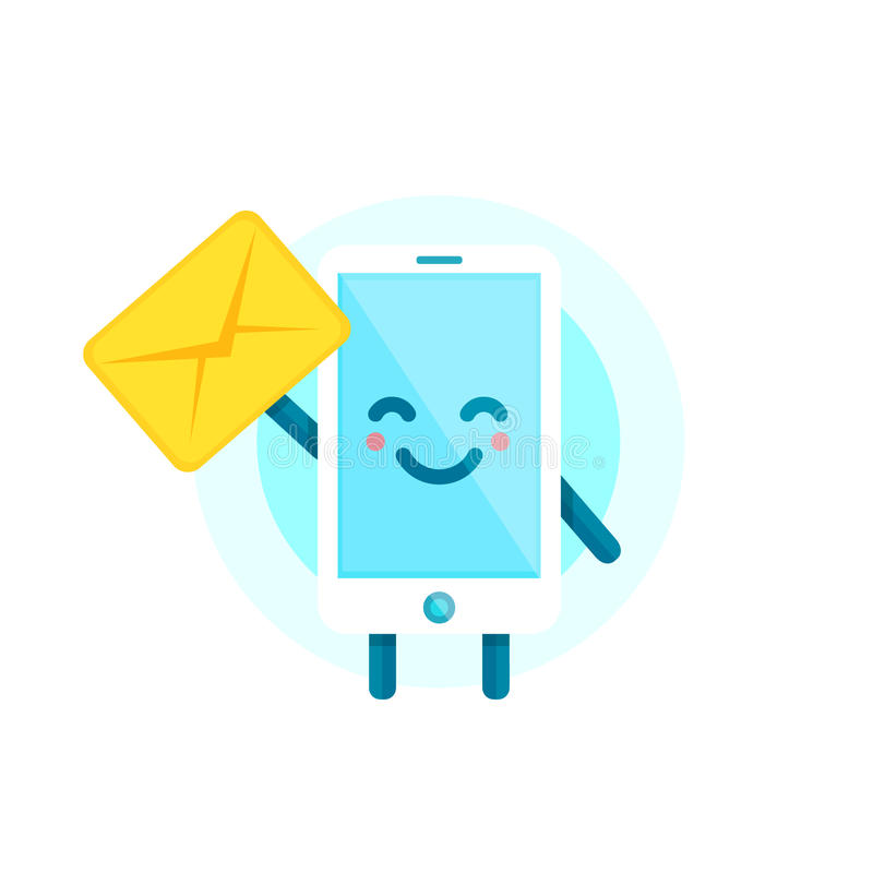 Ваш друг smartphone имеет сообщение для вас Характер телефона шаржа значка иллюстрации вектора плоский белизна изолированная пред иллюстрация штока