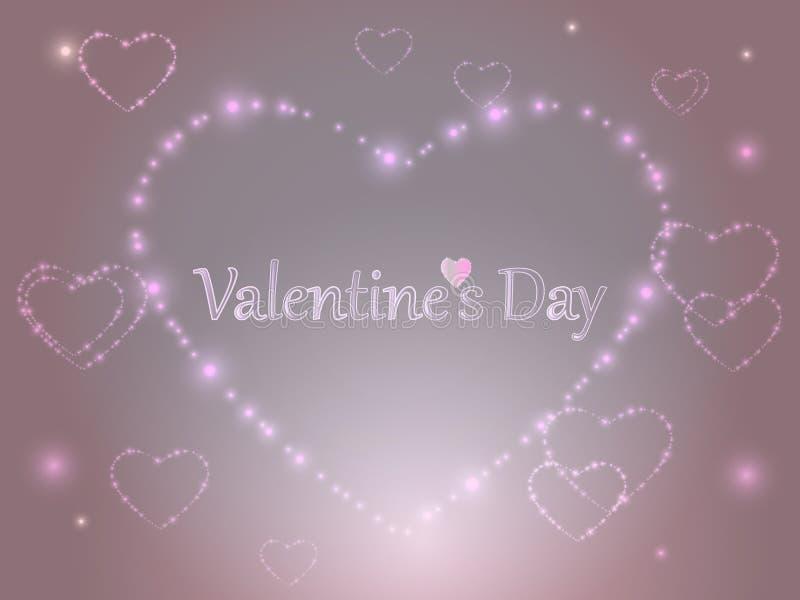 Валентайн дня s Розовые накаляя сердца на покрашенной предпосылке бесплатная иллюстрация