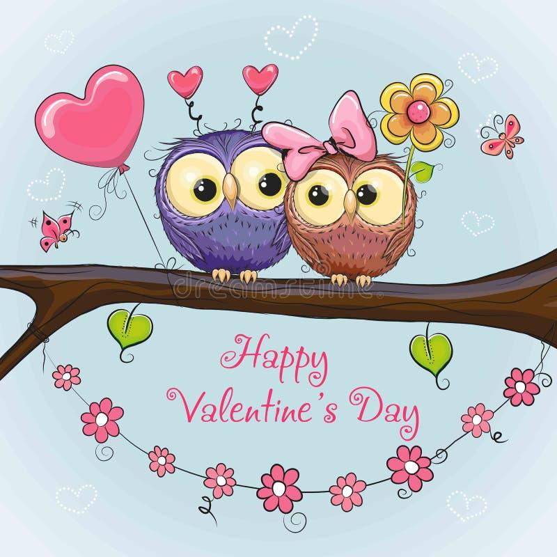 Валентинки чешут с милыми сычами бесплатная иллюстрация