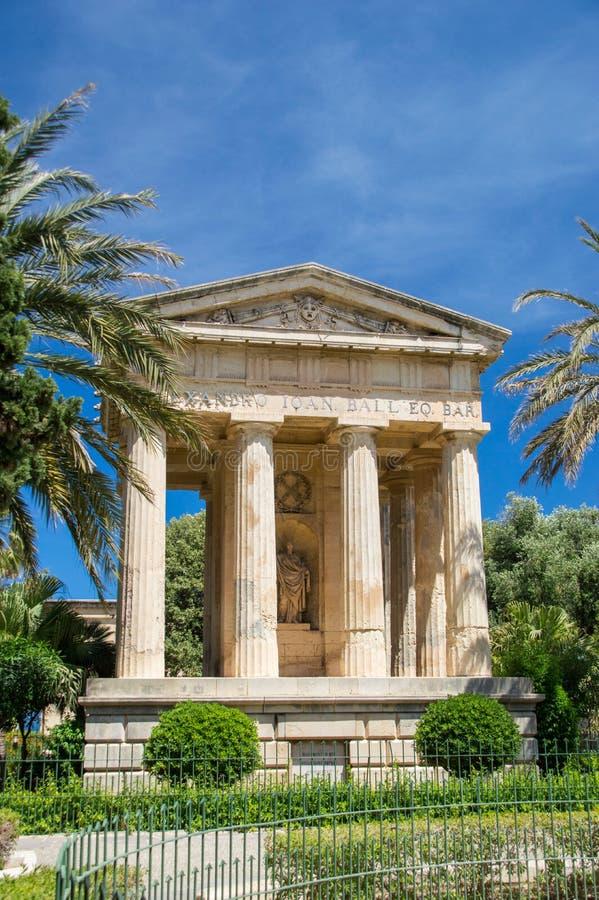 Валлетта, Мальта - 9-ое мая 2017: Верхние сады и памятник Barrakka предназначили к шарику Александра стоковое фото rf