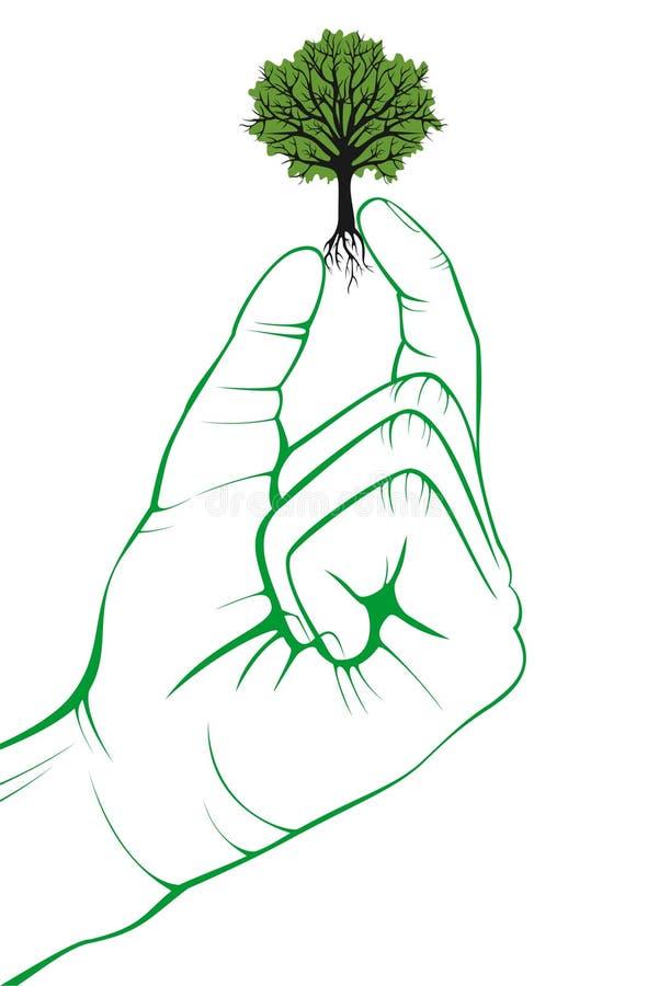 вал руки малый зеленый логос природа символа environmental иллюстрация вектора