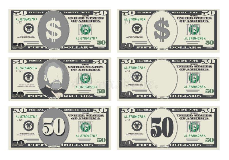 Валюта банка США, символ наличных денег 50 долларов счета иллюстрация штока