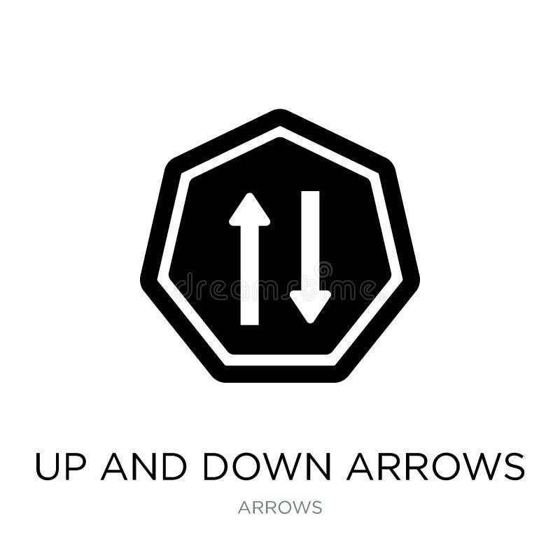 вверх и вниз значка стрелок в ультрамодном стиле дизайна вверх и вниз значка стрелок изолированного на белой предпосылке вверх и  иллюстрация штока