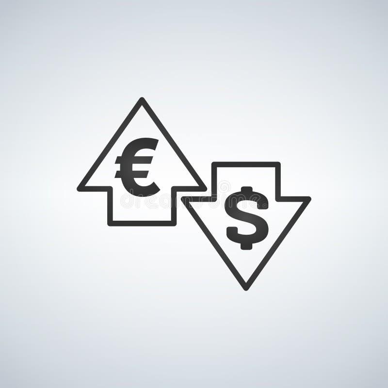 Вверх и вниз стрелок с долларом и евро подпишите внутри плоский дизайн значка на белой предпосылке иллюстрация штока