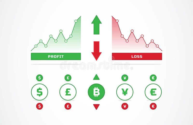 Вверх и вниз торгуя диаграмм и значков валюты иллюстрация вектора