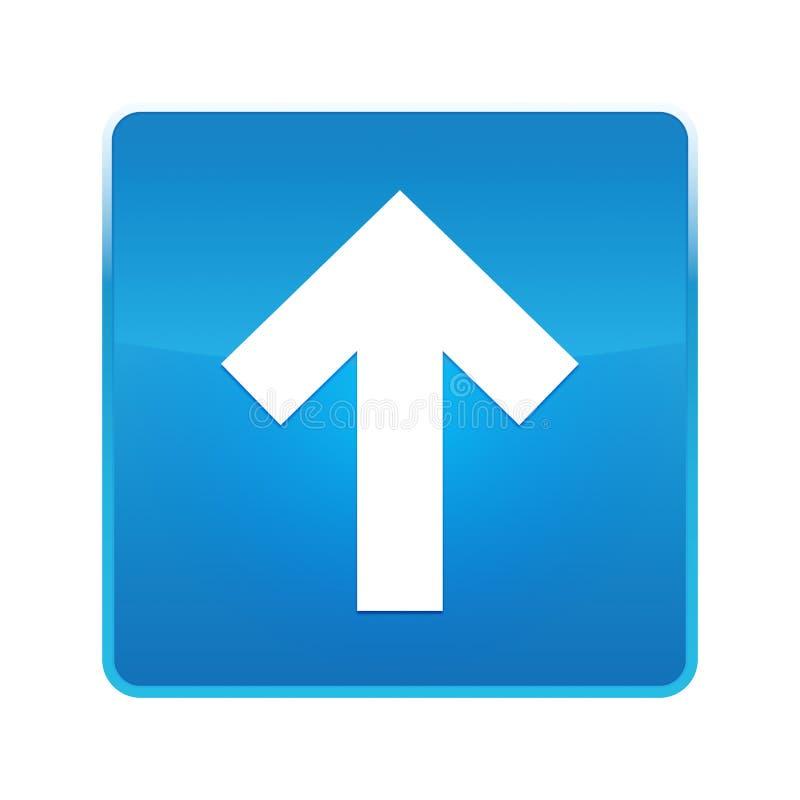 Вверх по кнопке значка стрелки сияющей голубой квадратной иллюстрация вектора