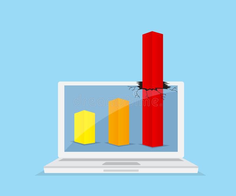 Вверх по красной диаграмме выходить от компьтер-книжки монитора бесплатная иллюстрация