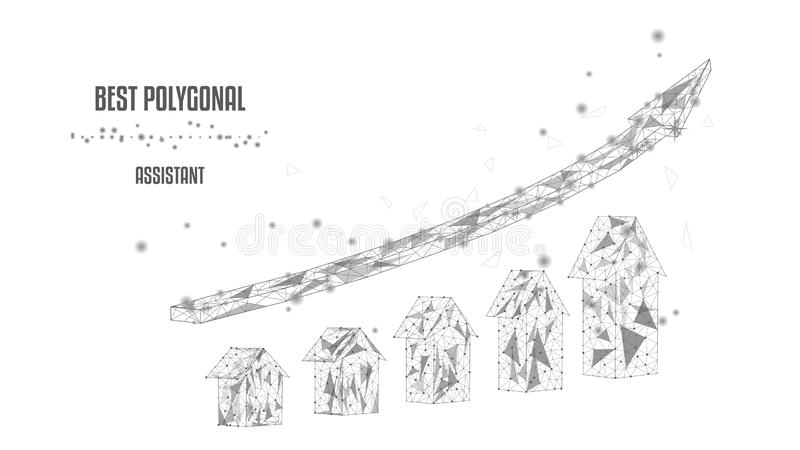 Вверх по серым стрелкам в полигональной рамке в белой предпосылке Концепция успеха Экономический рост ( Вектор полигональный черн иллюстрация штока