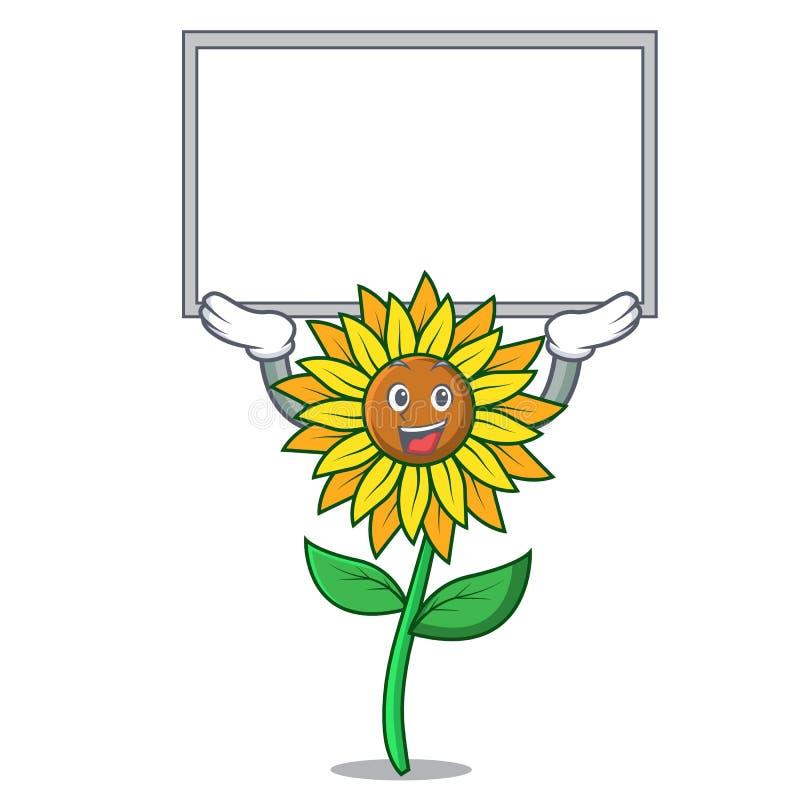 Вверх по стилю шаржа характера солнцецвета доски иллюстрация вектора