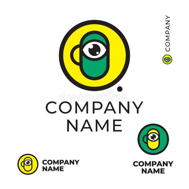 ? вверх по? offee или чай с концепции символа значка бренда идентичности логотипа глаза шаблоном яркой красочной современной уста стоковая фотография