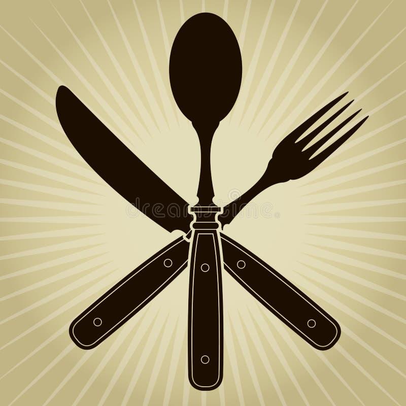 Год сбора винограда ввело нож, вилку и ложку/ресторан в моду   бесплатная иллюстрация