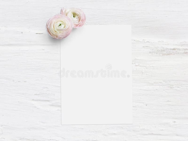 Введенное в моду фото запаса Женственный цифровой модель-макет с цветками uttercup, лютик продукта, пустой список бумажного и зат стоковая фотография