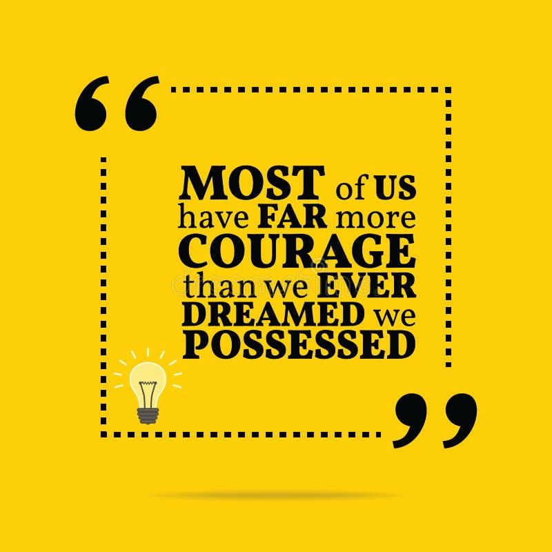 Вдохновляющая мотивационная цитата Большинство из нас имеет значительно больше coura бесплатная иллюстрация