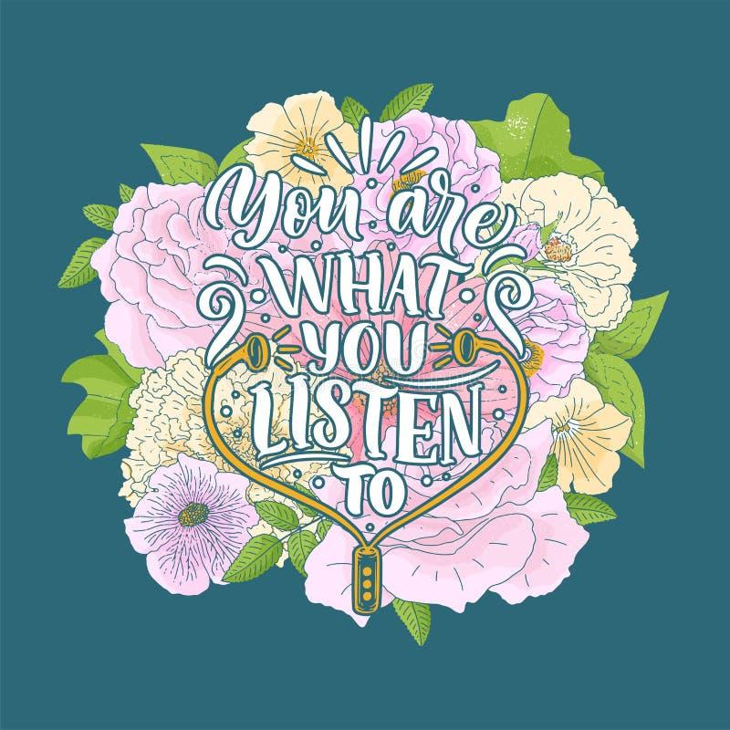 Вдохновляющая цитата о музыке Иллюстрация руки вычерченная винтажная с литерностью Фраза для печати на футболках и сумках, неподв стоковая фотография