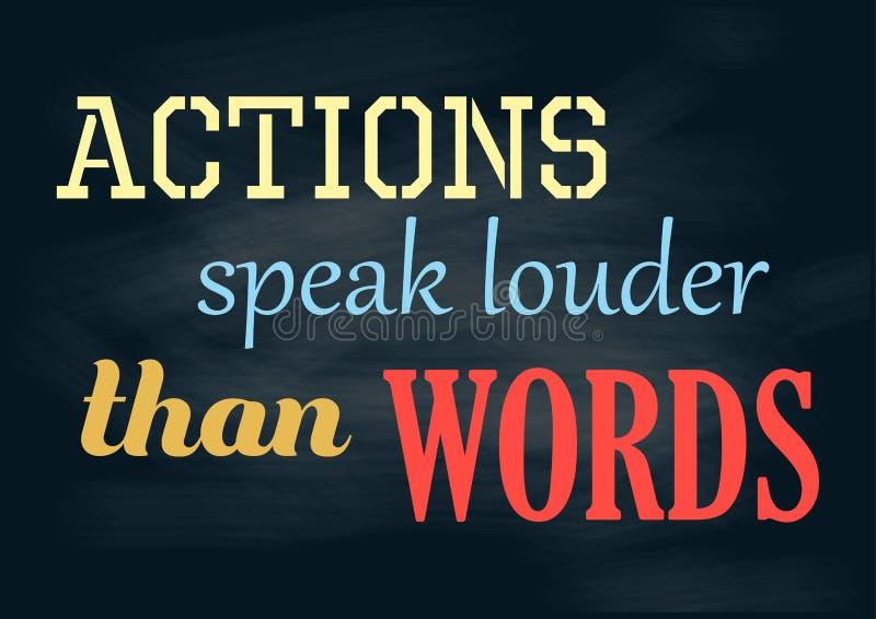 Вдохновляющие действия цитаты мотивации говорят более громко чем плакат вектора слов иллюстрация штока
