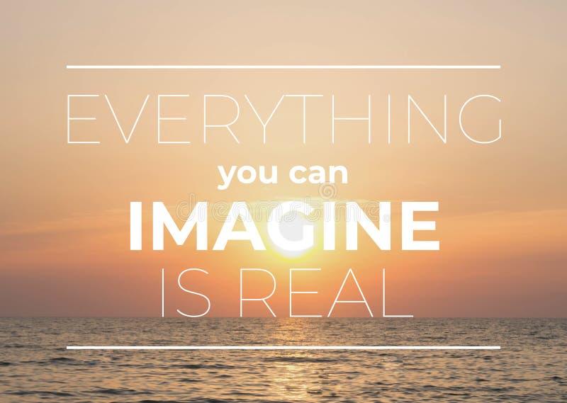 Вдохновляющие цитаты Everythung вы можете представить реально стоковое фото