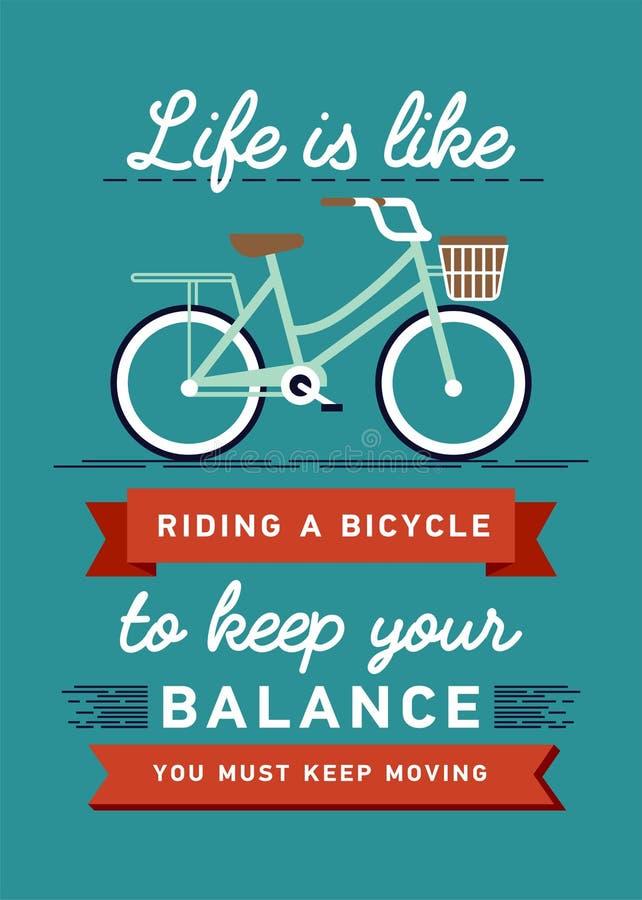 Вдохновляющий и ободряющий плакат вектора цитаты с велосипедом Предпосылка цитаты битника, оформление с знаком и иллюстрация вектора