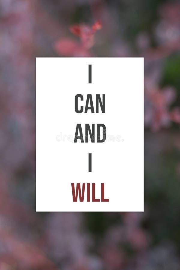 Вдохновляющий плакат я могу и я буду стоковые фотографии rf
