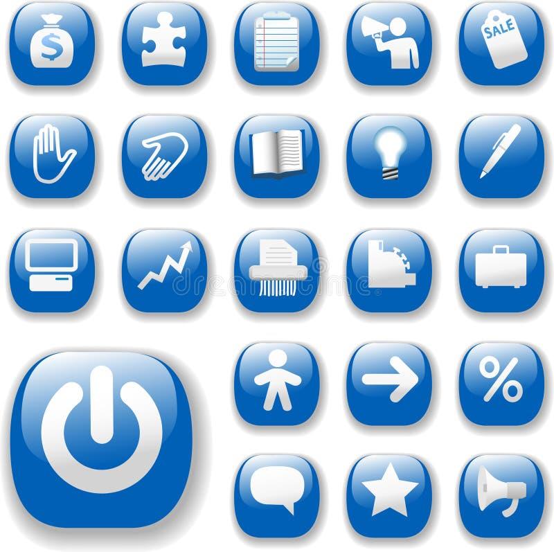 вебсайт голубого интернета икон дела установленный глянцеватый иллюстрация вектора